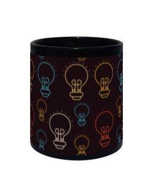 Creative Light Bulb, Black Mug