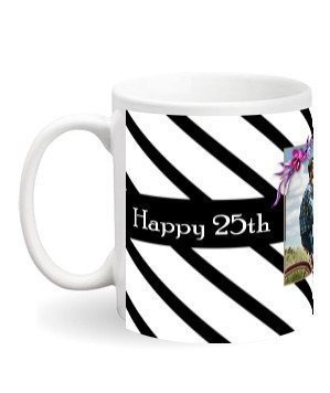 Happy 25th Wedding Anniversary mug and bottle, White Mug