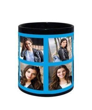 Selfie Collage Traveller Mug, Black Mug