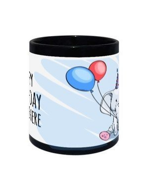 Happy birthday mug, Black Mug
