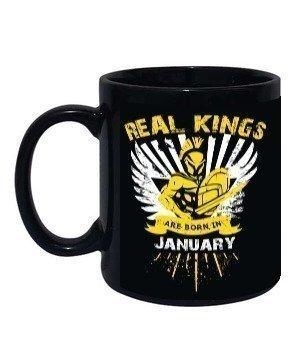 Real kings are born in January mug, Black Mug