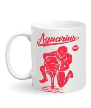 Aquarius Sign, White Mug