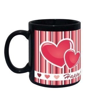 Cute Heart Print Mug, Black Mug