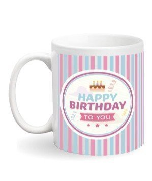 Happy Birthday Photo Mug, White Mug