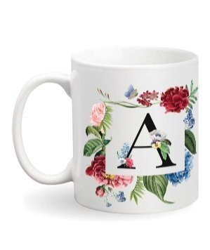 Floral Monogram A Coffee Mug