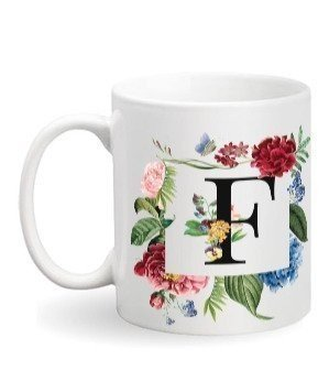 Floral Monogram F Coffee Mug