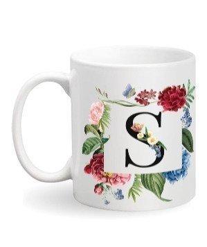 Floral Monogram S Coffee Mug, White Mug