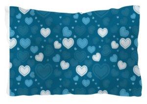 Blue Doodle Hearts Comfort Pillow, Pillow
