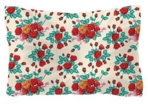Red floral background, Pillow