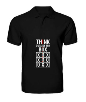 Think Outside The Box, Men's Polo Neck T-shirt