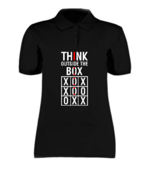 Think Outside The Box, Women's Polo Neck T-shirt