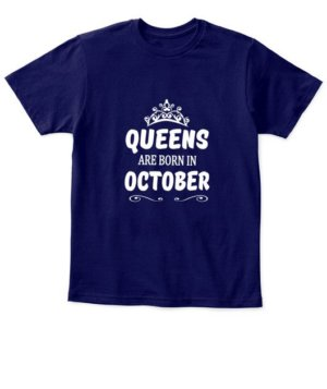 Queens are born in October Hoodie, Kid's Unisex Round Neck T-shirt