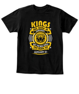 Real Kings are born on January 01-31, Kid's Unisex Round Neck T-shirt
