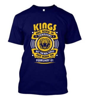 Real Kings are born on February 01-29 , Men's Round T-shirt