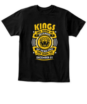 Real Kings are born on December 01-31, Kid's Unisex Round Neck T-shirt