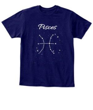Constellation-Pisces Tshirt, Kid's Unisex Round Neck T-shirt