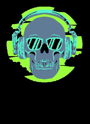 Skull Listening Music, Men's Hoodies