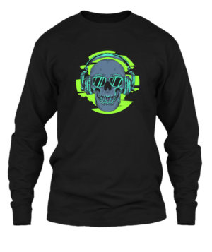 Skull Listening Music, Men's Long Sleeves T-shirt