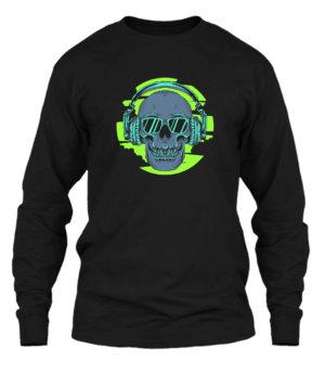 Skull Listening Music, Men's Long Sleeves T-shirt