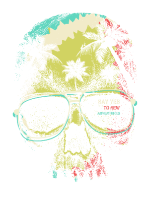 Skull Graphic, Men's Round T-shirt