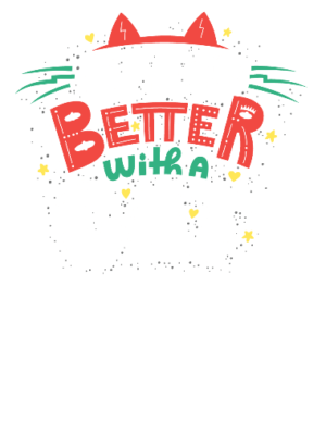 Life is better with a cat, Women's Round Neck T-shirt