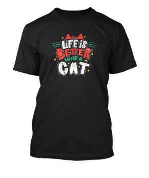 Life is better with a cat, Men's Round T-shirt