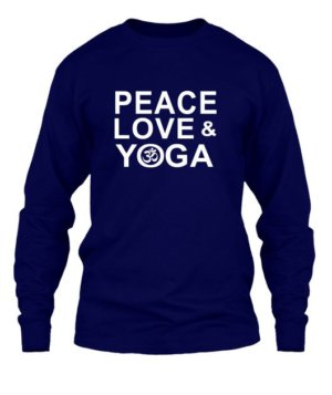 Peace Love and Yoga, Men's Long Sleeves T-shirt