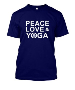 Peace Love and Yoga, Men's Round T-shirt