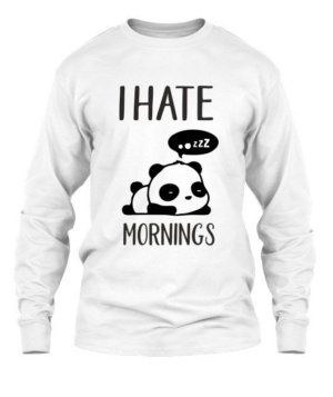 I hate mornings-Panda Tshirt, Men's Long Sleeves T-shirt